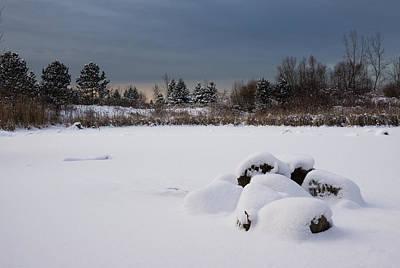 Fluffy Snowdrifts And Ominous Threatening Skies  Print by Georgia Mizuleva