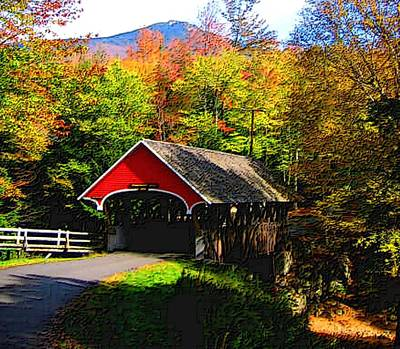Flume Covered Bridge Nh Print by L Brown