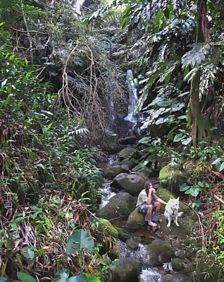 Hawaii Dog Photograph - Flute Player And Dog - Big Island Hawaii by Daniel Hagerman