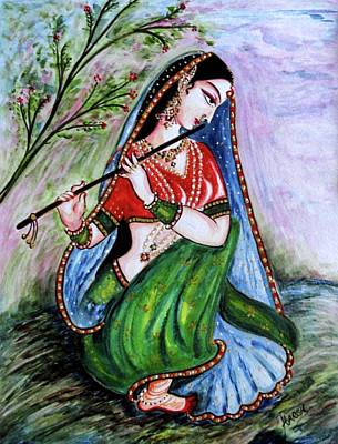 Devotional Painting - Flute Player by Harsh Malik