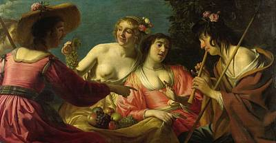 Dutch Shepherd Painting - Flute Playing Shepherd And Four Nymphs by Gerard van Honthorst