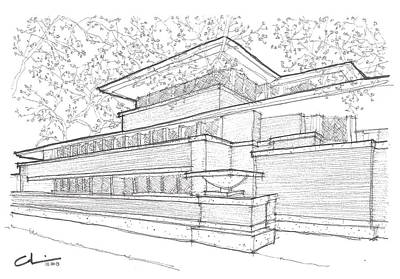 Hyde Park Drawing - Flw Robie House by Calvin Durham