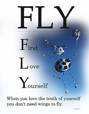 Fly Buseyism - Original Illustration Print by Buseyisms Inc Gary Busey