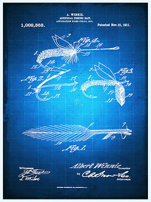 Trout Mixed Media - Fly Fishing Bait Patent Blueprint Drawing by Tony Rubino