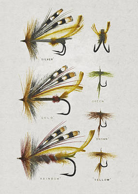 Fly Fishing Flies Print by Aged Pixel