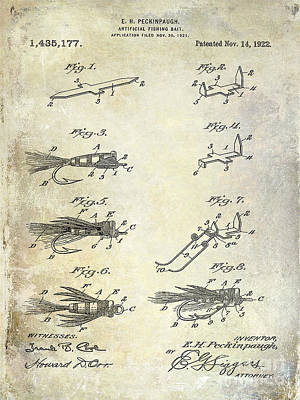 Bass Photograph - 1922 Fly Fishing Lure Patent Drawing by Jon Neidert