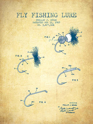Fly Fishing Lure Patent From 1969 - Vintage Paper Print by Aged Pixel