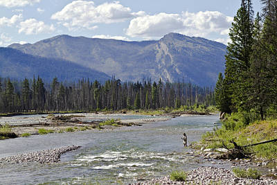 Fly Fishing On The South Fork Of The Flathead River Print by Merle Ann Loman