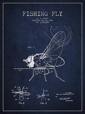 Fishing Fly Patent Drawing From 1968 Print by Aged Pixel