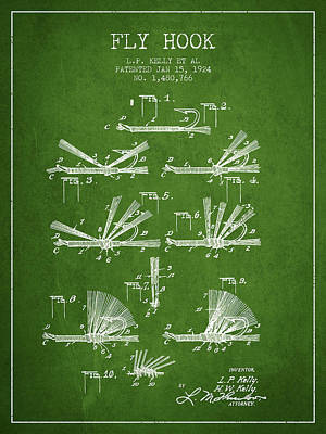 Fly Hook Patent From 1924 - Green Print by Aged Pixel