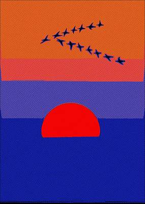 Birds Painting - Fly Into The Sunset by Florian Rodarte