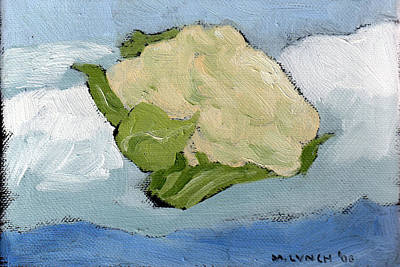 Cauliflower Painting - flying Cauliflower by Marie K Lynch