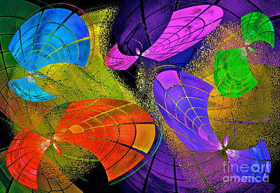 Colorful Abstract Digital Art - Flying Colors by Gwyn Newcombe