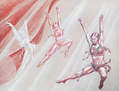 Theater Drawing - Flying Dancers  by Irina Sztukowski