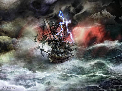 Of Pirate Ship Painting - Flying Dutchman by Stefano Popovski