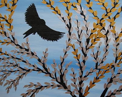 Black Bird.flying Art Painting - Flying Freely by Cathy Jacobs