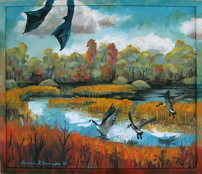 Flying Geese Feet Print by Art Nomad Sandra  Hansen