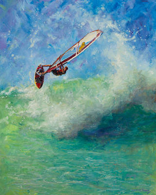 Wind Surfing Painting - Flying by Jeanne Young