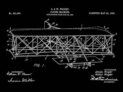 Flying Machine Patent 1903 - Black Print by Stephen Younts