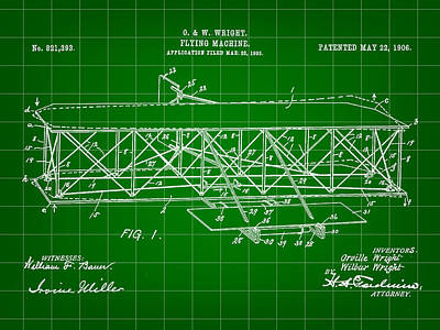 Flying Machine Patent 1903 - Green Print by Stephen Younts