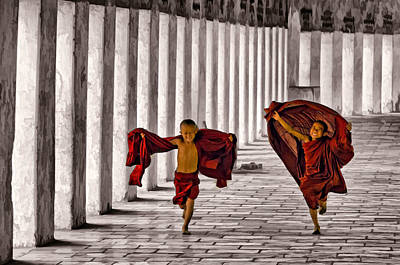 Flying Monks Print by Claude LeTien