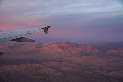 Flying Over The Mojave Desert At Sunrise Print by Georgia Mizuleva