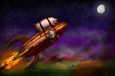 Flying Pig - Rocket - To The Moon Or Bust Print by Mike Savad