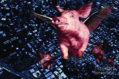 Pig Digital Art - Flying Pigs Over San Francisco by Wingsdomain Art and Photography