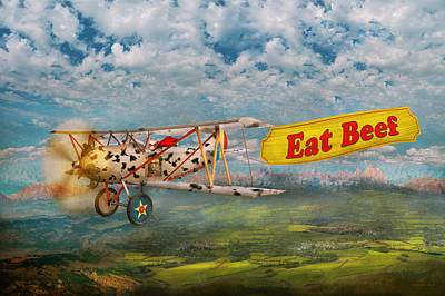 Flying Pig Digital Art - Flying Pigs - Plane - Eat Beef by Mike Savad