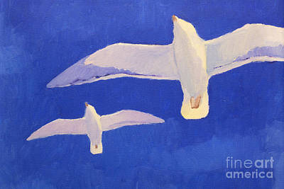 Seagull Painting - Flying Seagulls by Lutz Baar