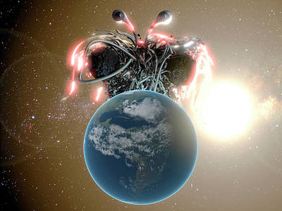 Flying Spaghetti Monster And Earth Print by Christian Darkin
