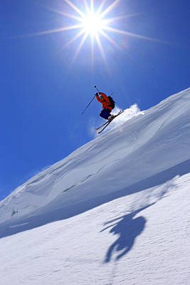 Skiing Action Photograph - Flying The Friendly Skies... by Johnny Adolphson