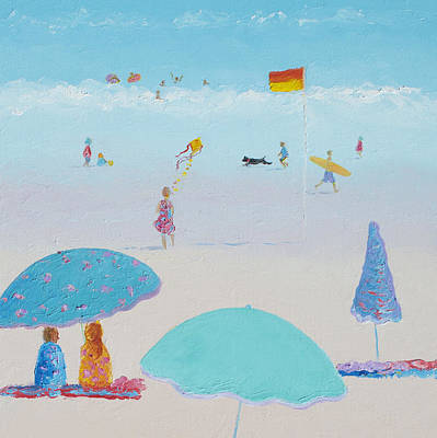 Kids Flying Kite Painting - Flying The Kite - Beach Painting by Jan Matson