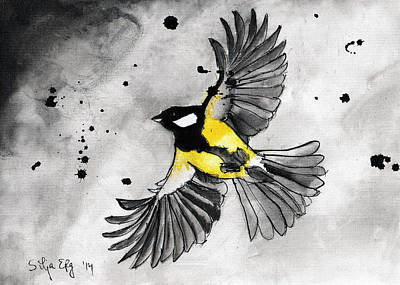 Titmouse Drawing - Flying Tit by Silja Erg