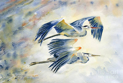 Great Blue Heron Painting - Flying Together by Melly Terpening