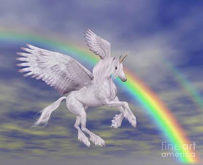 Flying Unicorn And Rainbow Print by Smilin Eyes  Treasures
