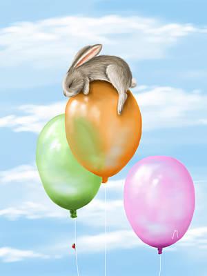 Rabbit Painting - Flying by Veronica Minozzi