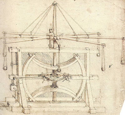 Flywheel Mechanical Drawing Print by Leonardo da Vinci