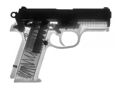 Fn P9a Hand Gun X-ray Print Print by Ray Gunz