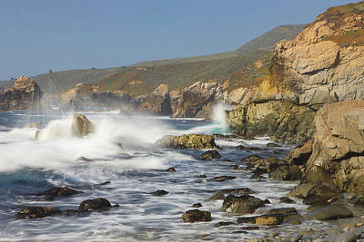 Of Big Sur Beach Photograph - Foam Thrown In The Air When Hitting by Tom Norring