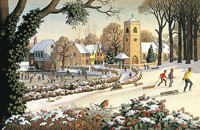 Winter Fun Painting - Focus On Christmas Time by Ronald Lampitt