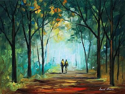 Fog Elegy - Palette Knife Oil Painting On Canvas By Leonid Afremov Print by Leonid Afremov