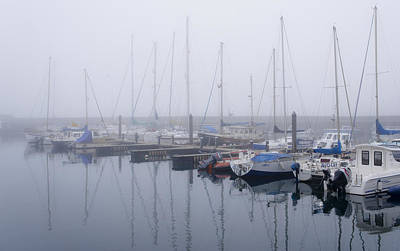 Anstruther Photograph - Fog In Marina I by Elena Perelman
