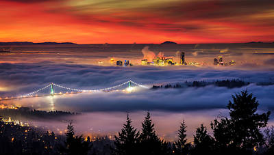Sunrise Photograph - Fog Inversion Over Vancouver by Alexis Birkill