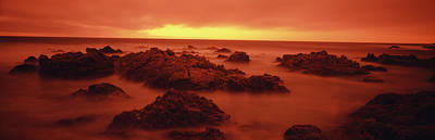 Foggy Beach At Dusk, Pebble Beach Print by Panoramic Images