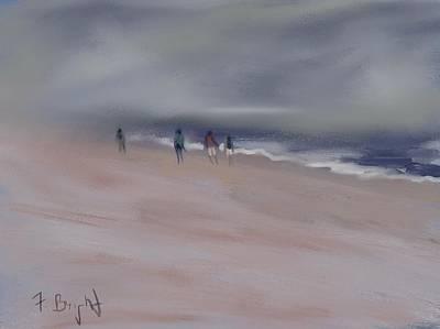 Fog On Folly Field Beach Original by Frank Bright