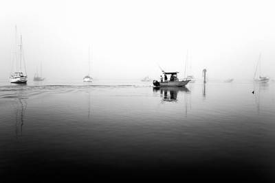 Boat Photograph - Foggy Fishing Trip In Black And White by Priya Ghose