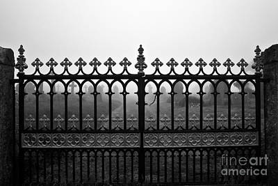 Foggy Grave Yard Gates Print by Terri Waters