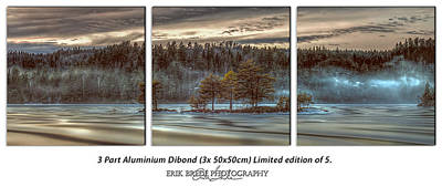 Foggy Lake 3 Part Dibond Print Original by Erik Brede
