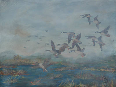 Snow Geese Painting - Foggy Morning by Gail Daley
